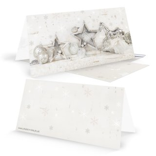 Weihnachtskarten DIN lang Klappkarten beige silber mit Schaukelpferd und Stern-Motiv Shabby Chic + Briefumschläge
