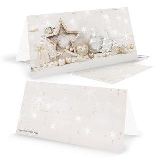 Weihnachtskarten DIN lang Klappkarten beige gold silber mit Stern-Motiv Shabby Chic + passende Kuverts