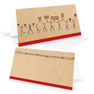 Herzmensch Weihnachtskarten DIN lang braun rot & passende Umschläge