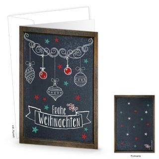 Kuverts + Weihnachtskarten DIN A6 hoch Klappkarten Frohe Weihnachten schwarz weiß rot im Tafelkreide-Stil