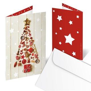 Briefumschläge + Weihnachtskarten DIN A6 hoch Klappkarten beige mit Weihnachtsbaum rot