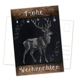 Postkarten Weihnachten DIN A6 hoch Tafelkreide-Optik schwarz weiß mit Holzoptik und Hirsch-Motiv