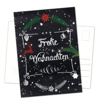 Postkarten Weihnachten DIN A6 hoch Tafelkreide-Optik schwarz weiß mit Weihnachtsmotiven und Text Frohe Weihnachten
