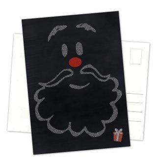 Postkarten Weihnachten DIN A6 hoch Tafelkreide-Optik schwarz weiß mit Nikolaus-Motiv