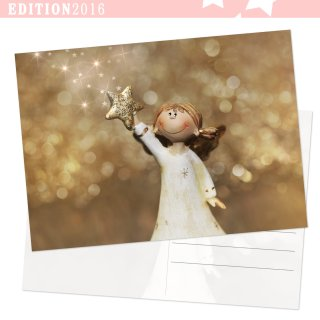 Postkarten Weihnachten DIN A6 quer Schutzengel Christkind-Motiv gold weiß
