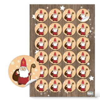 Weihnachtliche Sticker - 4 cm rund - mit heiligem Nikolaus rot weiß braun zum Verzieren und Verschönern