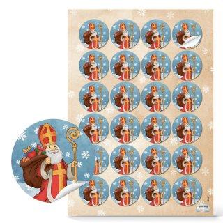 Weihnachtliche Aufkleber - 4 cm rund - mit heiligem Nikolaus bunt rot blau für Päckchen Verpackungen