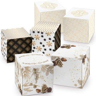15 kleine Geschenkboxen verschiedener Größen im Set - weiß gold schwarz