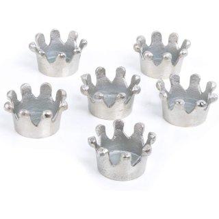 6 Teelichthalter Kronen aus Aluminium silber - Tischdeko 7 x 4 cm