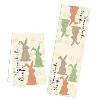 Längliche Aufkleber Hasenstarke Grüße für Ostern - 5 x 14,8 cm vintage- beige rot grün