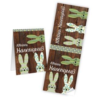 Geschenkaufkleber für Ostern in Holzoptik - 7,2 x 21 cm - braun grün mit Text Kleiner Hasengruß