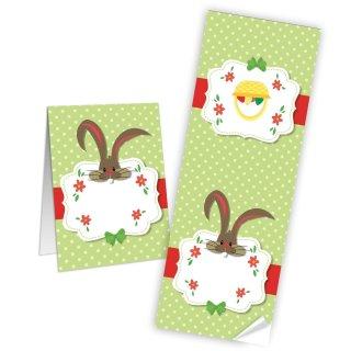 Geschenkaufkleber für Ostern - 7,2 x 21 cm - bunt grün rot beschreibbar