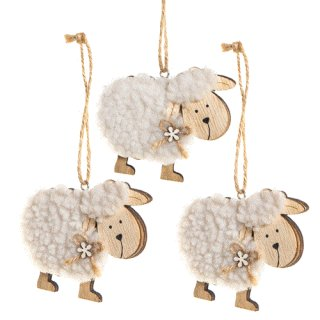 3 Schafe als Osterhanhänger 9 x 7 cm - Dekoration Ostern Frühling natur weiß