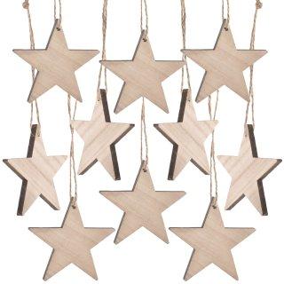 10 Holzsterne - 7 cm braun weiß - als Christbaumschmuck Weihnachtsdeko