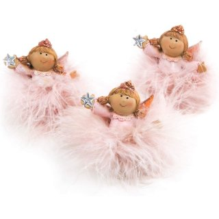 Logbuch-Verlag 3 kleine Engelfiguren rosa mit Tutu - Engel Deko Figuren mit Federn 7 cm pink als kleines Geschenk Give-Away Mitgebsel Mädchen Kindergeburtstag Weihnachten