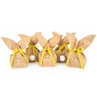 Osterhasentüten klein - braune Hasentüten in 16,5 x 26 x 6,6 cm, gelbes Bändel, weiße Puschel & Kulleraugen