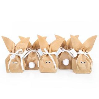 Osterhasentüten klein - braune Papiertüten in 16,5 x 26 x 6,6 cm, Kulleraugen, weiße Puschel + Schleifen