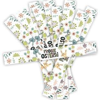 Bunte XXL vintage Aufkleber mit Osterhase und Blumen- 5 x 42 cm - mit Text Frohe Ostern