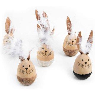 6 kleine Osterhasen Figuren aus Holz - 10 x 3,5 cm - natur weiß braun - Ostergeschenk Deko