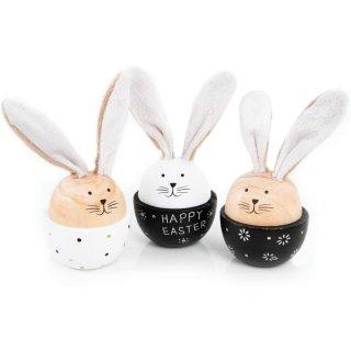 3 Osterhasen Figuren Happy Easter aus Holz + Stoff gold weiß schwarz - zum Hinstellen & Verschenken