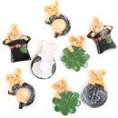 8 kleine Glücksschweine auf Zylinder Münze...