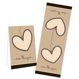 Geschenkaufkleber Von Herzen braun creme beige -  5 x 14,8 cm - für Verpackungen Pakete