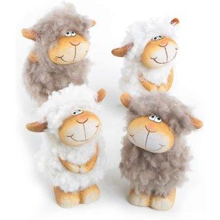 4 witzige Schaf Figuren in weiß grau braun - 11 cm - aus Keramik & Filz - Osterlämmer als Deko