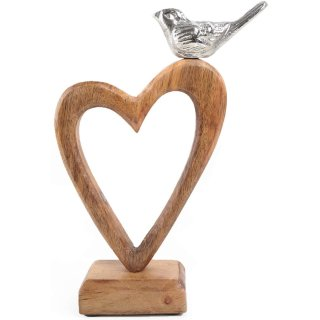 Braunes Herz aus Holz mit silbernem Vogel - 22 cm - Dekoherz zum Hinstellen