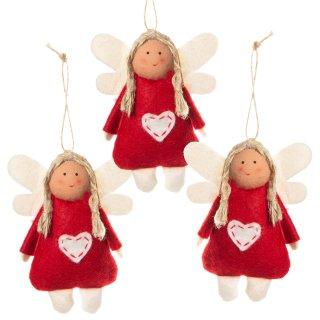 Engel Anhänger aus Stoff rot beige - Schutzengel Anhänger 9,5 cm mit Herz