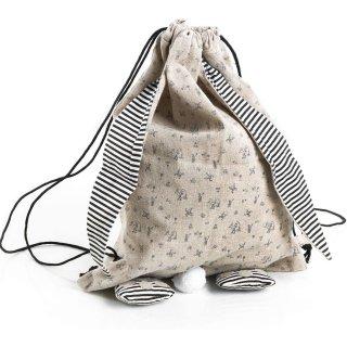 Oster Rucksack aus Leinen in Natur schwarz weiß - als Osternest Ostergeschenk