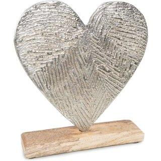 Dekoherz Silber aus Metall auf Holzsockel - 21 cm - Geschenk zum Hinstellen