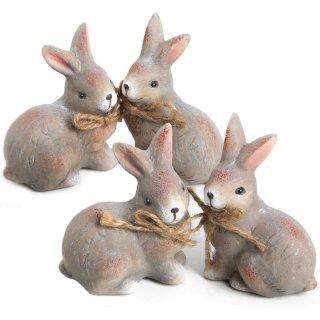 4 Hasen Figuren aus Keramik in grau braun - 7 cm - Osterhasen Dekofiguren