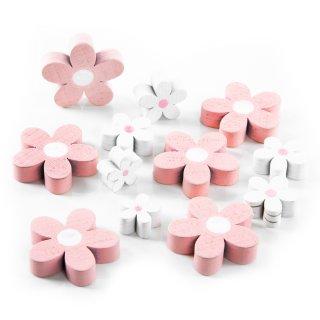 12 Blumen in 3 - 5 cm aus Holz in rosa + lila + weiß - Holzdeko zum Streuen