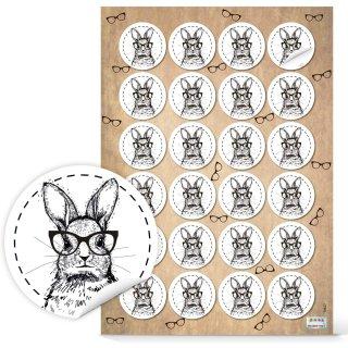 Runde Oster Sticker - 4 cm - weiß schwarz mit Hipster Osterhasen - für Kunden Kollegen