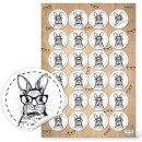 Runde Oster Sticker - 4 cm - weiß schwarz mit...