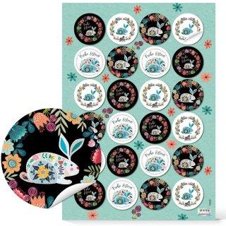 Florale Folklore Geschenkaufkleber für Ostern - 4 cm rund bunt - mit Osterhase
