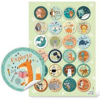 Belohnungsaufkleber für Kinder mit bunten Tieren - 4 cm rund - Belobigung Motivationsaufkleber