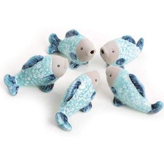 5 kleine Fische Figuren aus Keramik in türkis blau glänzend - 7 cm