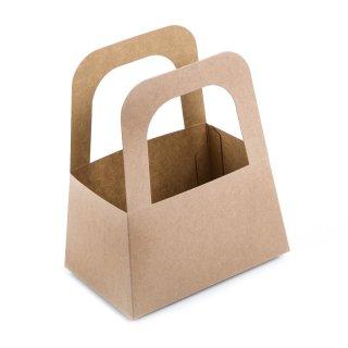 Kleine Henkelkörbe aus Kraftpapier braun 14,5 x 17,5 x 10 cm - Geschenkverpackung