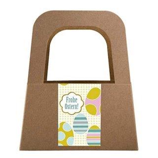 5 kleine Henkelkörbe aus Kraftpapier mit Osteraufkleber grün blau - Frohe Ostern Geschenkverpackung