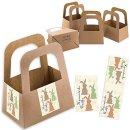 5 kleine Henkelkörbe aus Kraftpapier mit Osteraufkleber Osterhasen beige - Verpackung Ostergeschenk