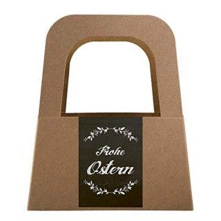 5 kleine Körbe mit Henkel + Osteraufkleber FROHE OSTERN schwarz weiß braun - Verpackung Kundengeschenk
