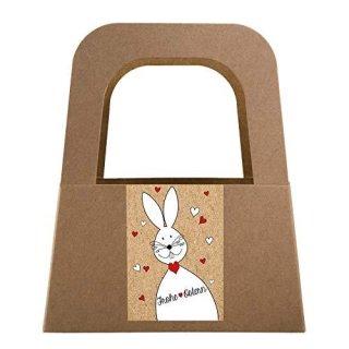 5 kleine Osternest Verpackungen - Henkelkorb aus Kraftpapier mit Aufkleber FROHE OSTERN