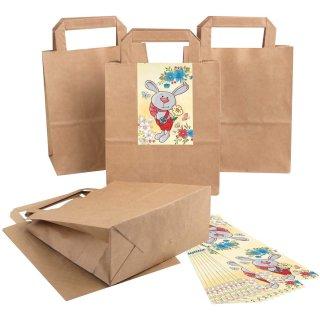 Kleine Geschenktüten aus Kraftpapier + bunte Osterhasen Aufkleber