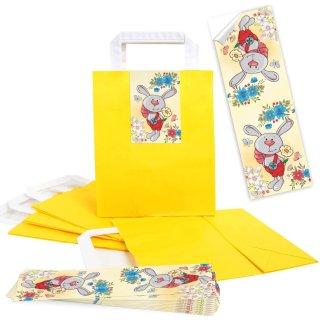 Henkeltaschen 18 x 8 x 22 cm in gelb + bunte Osteraufkleber mit Hase