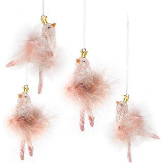 4 Vögel Anhänger rosa mit Goldener Krone - Vogelanhänger mit Plüsch Federn