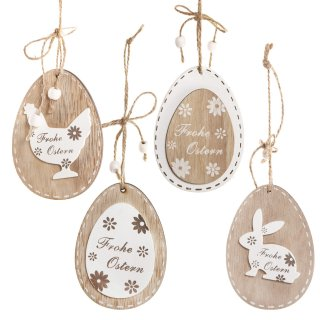 4 Ostereieranhänger aus Holz in Natur braun weiß - 10 cm - Ostereier zum Aufhängen