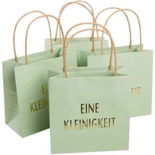 4 kleine Geschenktüten in mintgrün gold EINE KLEINIGKEIT - mit Henkel