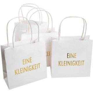 4 Papiertüten mit Henkel weiß gold - Geschenktüten als Verpackung für kleine Geschenke