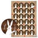 Osteraufkleber Set 4 x 24 Aufkleber 4 cm Frohe Ostern mit Osterhasen - Osterdeko Sticker